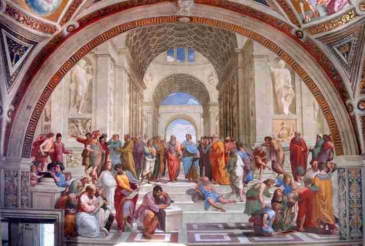 'Escola de Atenas', de Rafael, Palácio Apostólico no Vaticano. Estão representados: Pitágoras e a Escola Pitagórica e a simbologia dos números.