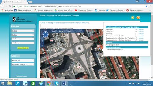Pagar menos IMI. Coeficiente de Localização, Imagem da rua e do prédio, imagem aumentada com a lupa