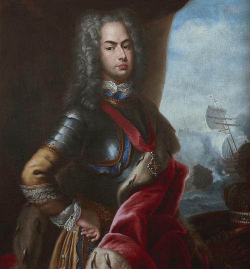 Palácio Nacional de Mafra. Rei D João V O Magnânimo e a Batalha do Cabo Matapão_(1717) Domenico Duprà_(MNAA)