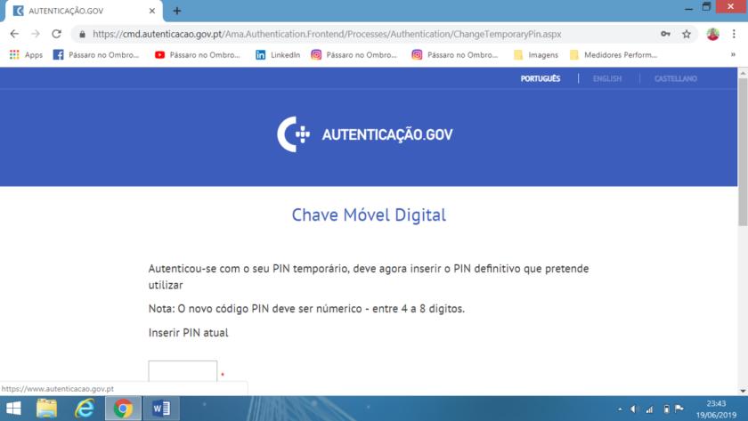 Mudar o PIN temporário recebido por carta, Chave Móvel Digital
