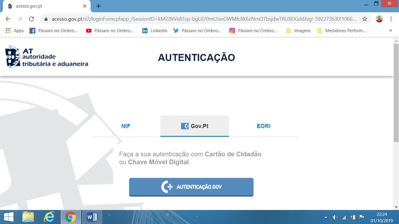 Autenticar com Chave Digital no Portal da AT