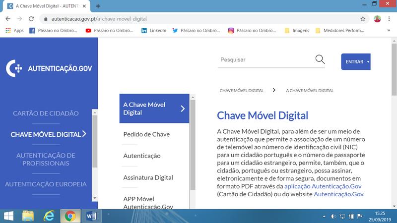 Opção Chave Móvel Digital, no Portal de Autenticação