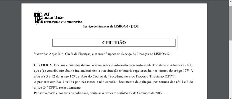 Declaração de Não Dívida em formato PDF