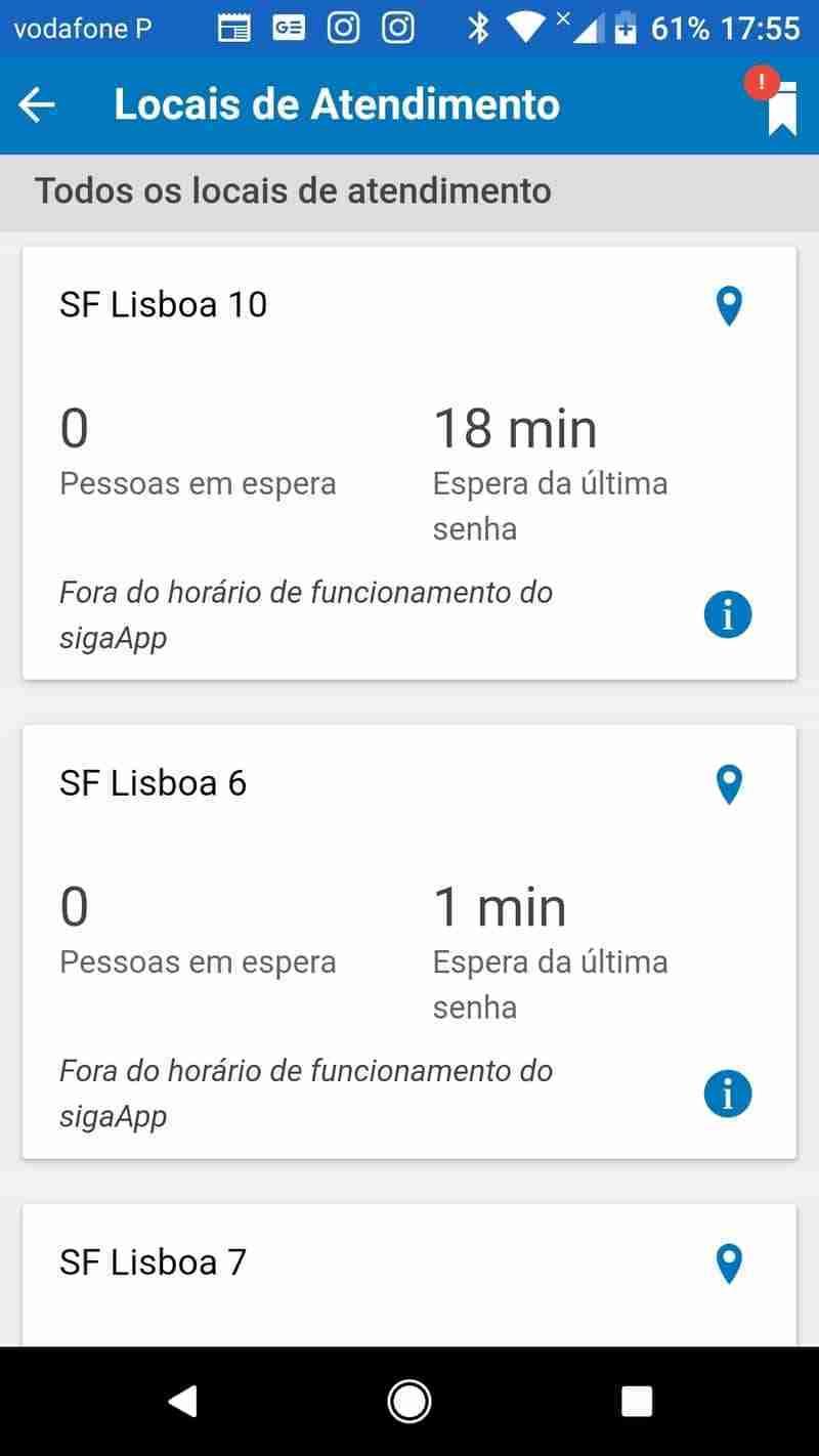 Fora do Horário de funcionamento da Aplicação Siga App