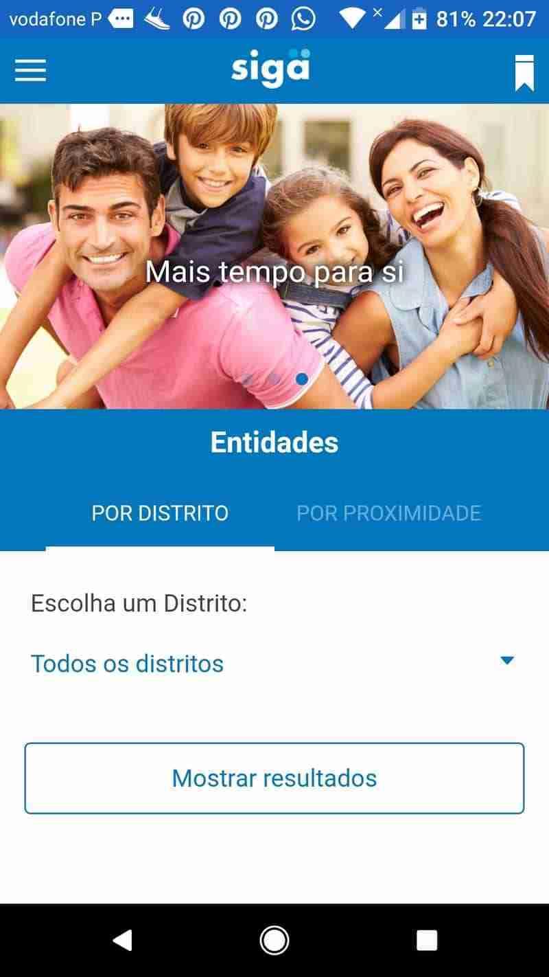Localização, Aplicação Siga App, Tirar senha online
