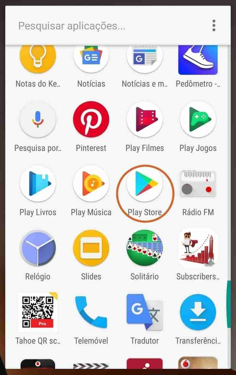 Selecionar o Play Store