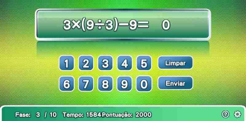 Jogo de Matemática e Cálculo Rápido. Aritmética: adição, subtração, multiplicação, e divisão