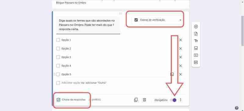 Fig 6 Criar as Questões, para criar testes online
