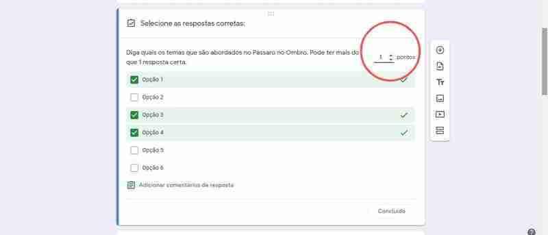 Fig 7 Chave de Resposta, para criar testes online.