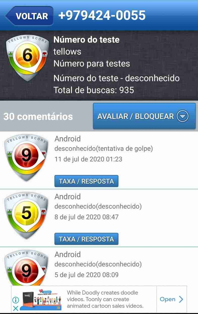 A aplicação para poder identificar telefones