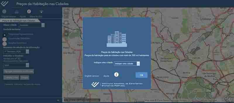 Mapa interativo do INE