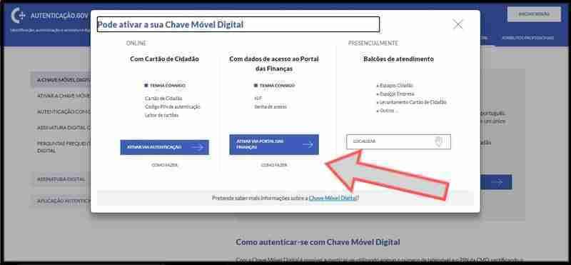 Fig 3 Opção Chave Móvel Digital, no Portal de Autenticação