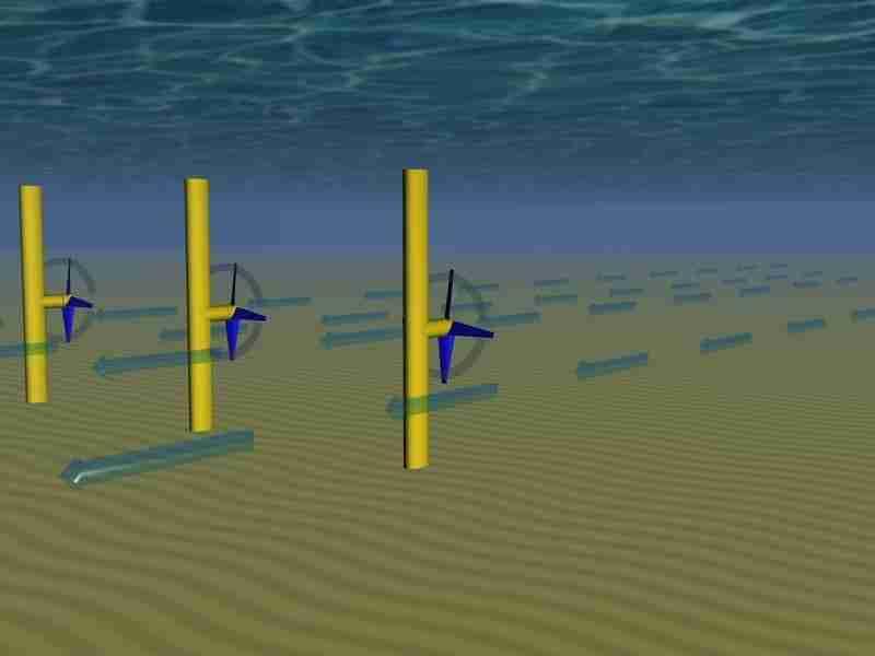 Fig 1 Tecnologia Energias das Marés Turbinas com eixos horizontais Fonte Aquaret