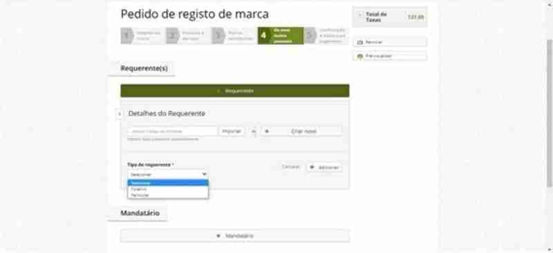 Imagem 5 Como registar uma marca, Detalhes do requerente