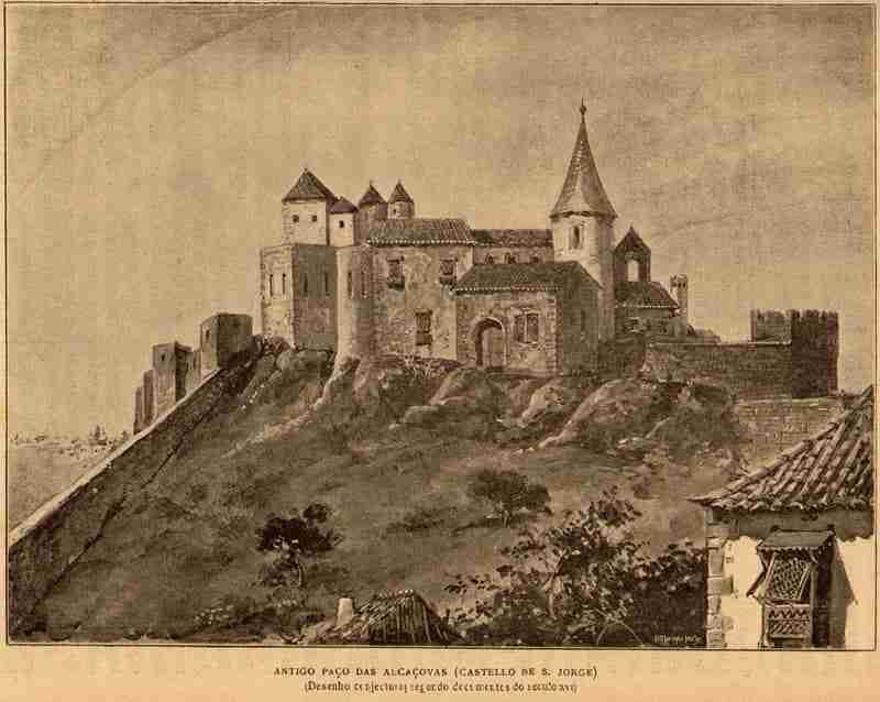 Antigo Paço da Alcáçova Castelo de São Jorge Lisboa Fonte Roque Gameiro, Public domain, através da wiki Wikimedia Commons