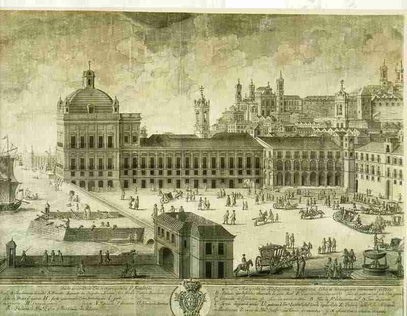 Paço da Ribeira em 1755 Fonte Zuzarte, Public domain, via Wikimedia Commons
