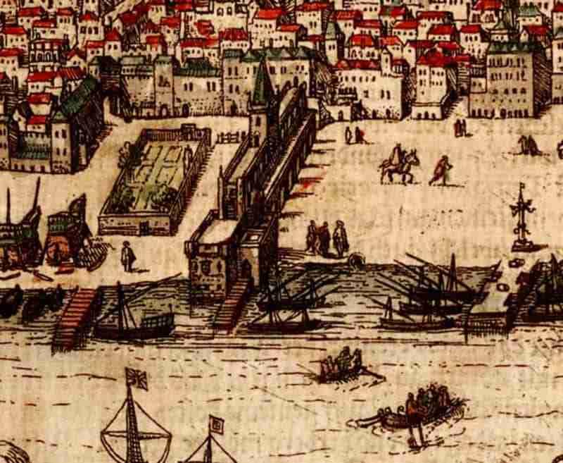 Palácio da Ribeira 1598 Fonte Georg Braun and Franz Hogenberg, Public domain, via Wikimedia Commons