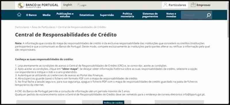 Imagem 1. Acesso ao Banco de Portugal Central de Responsabilidades de Crédito