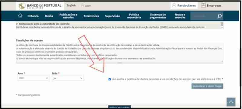 Imagem 2. Condições para pedir o mapa da lista negra do Banco de Portugal